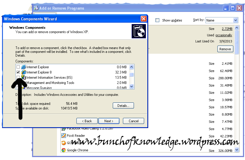 how to install IIS on windows xp